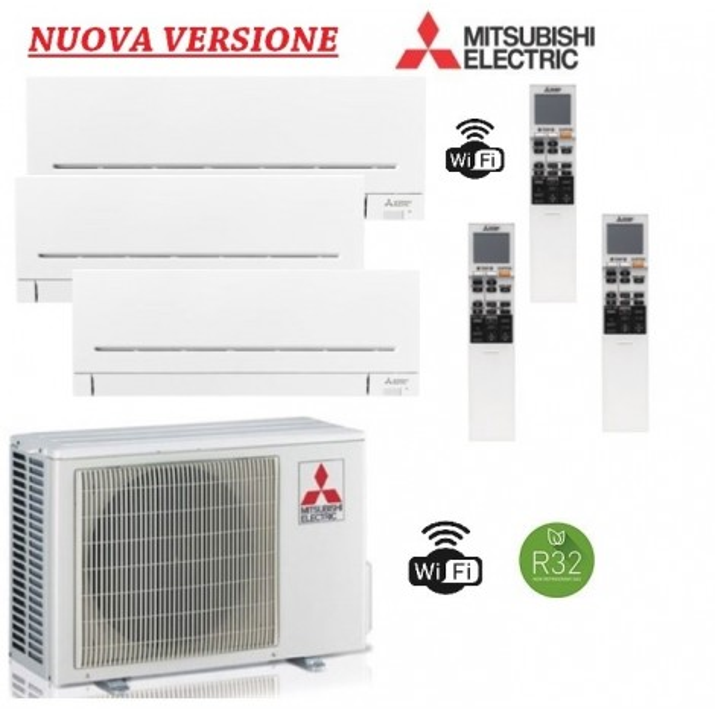 Climatizzatore Mitsubishi trial Split 9+12+12 - MXZ-3F54VF + 2x MSZ-AP35VGK + MSZ-AP25VGK