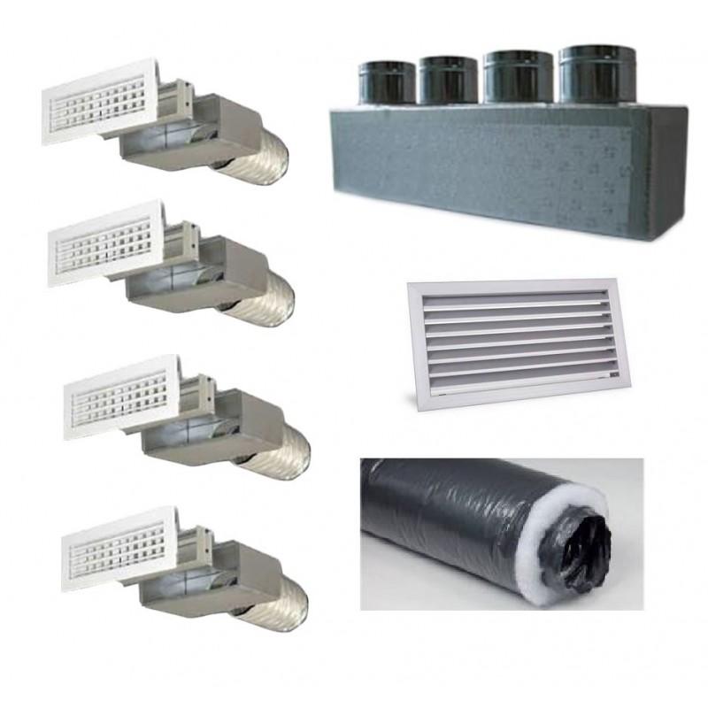 Kit per Distribuzione dell'aria 4 vie 4 uscite per climatizzatori condizionatori canalizzati canalizzabili COMPLETO