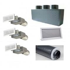Kit per Distribuzione dell'aria 3 vie 3 uscite per climatizzatori condizionatori canalizzati canalizzabili COMPLETO - 150 mm