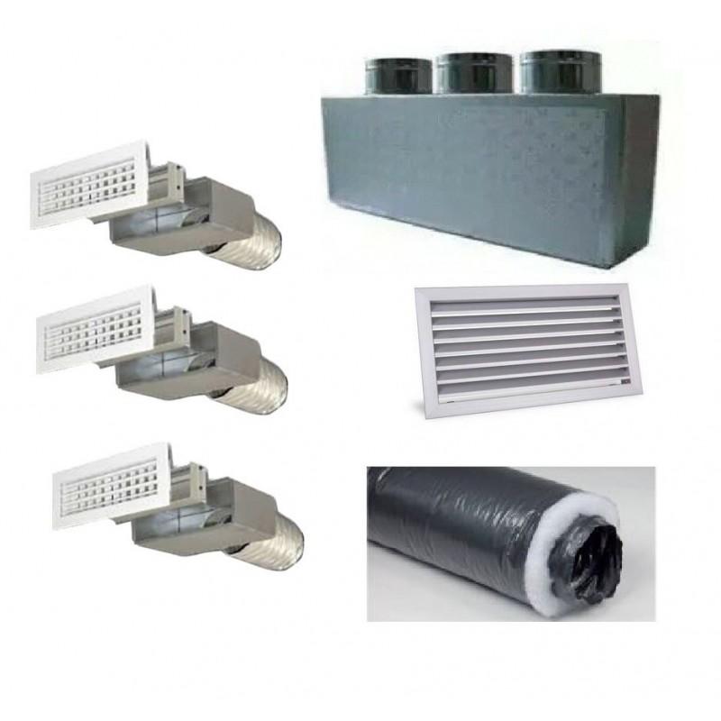 Kit per Distribuzione dell'aria 3 vie 3 uscite per climatizzatori condizionatori canalizzati canalizzabili COMPLETO