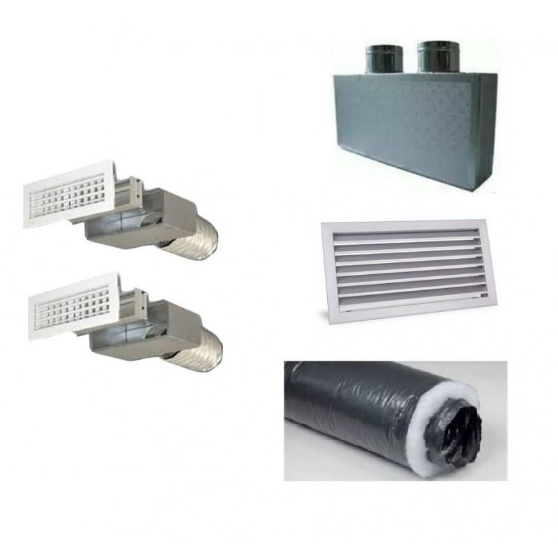 Kit per Distribuzione dell'aria 2 vie 2 uscite per climatizzatori condizionatori canalizzati canalizzabili COMPLETO