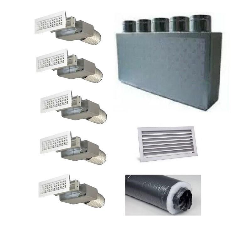 Kit per Distribuzione dell'aria 5 vie 5 uscite per climatizzatori condizionatori canalizzati canalizzabili COMPLETO