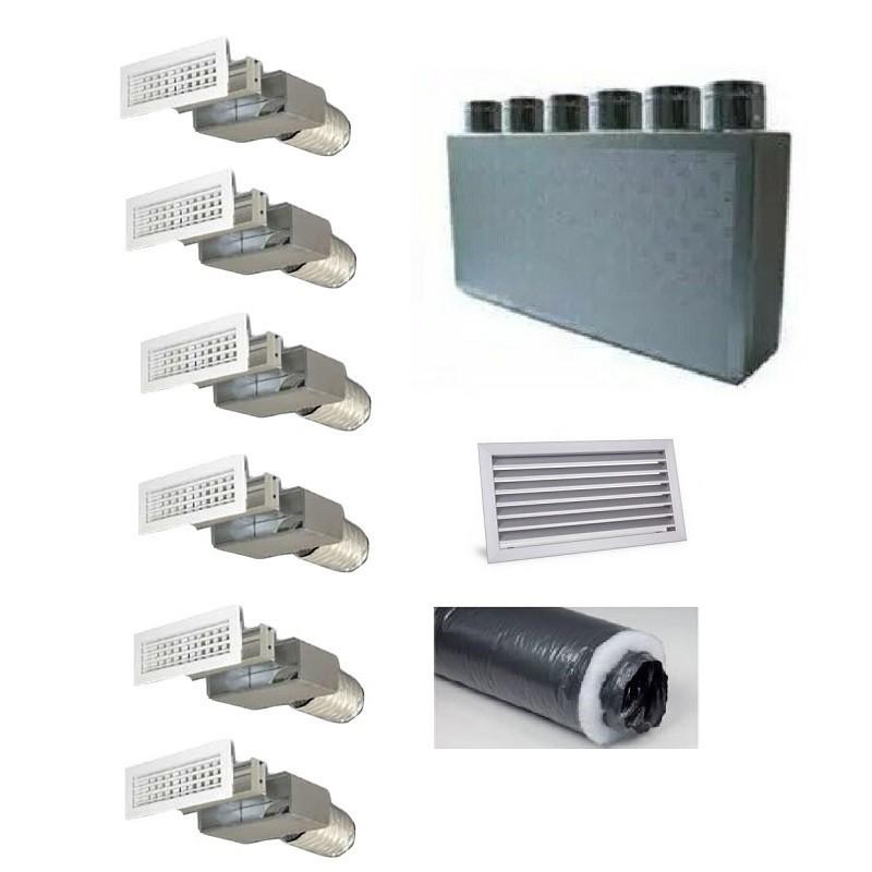 Kit per Distribuzione dell'aria 6 vie 6 uscite per climatizzatori condizionatori canalizzati canalizzabili COMPLETO