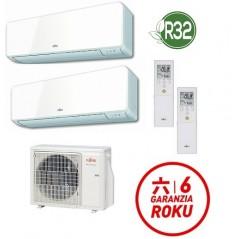GARANZIA ITALIA ULTIMA VERSIONE Condizionatore R32 Fujitsu Dual Split 9000 + 12000 AOYG14KBTA2 ASYG09KMCC ASYG12KMCC